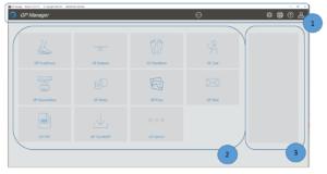 Übersicht Startseite: Menüleiste , Modulübersicht und Projektansicht